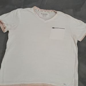Guess textured layered V neck